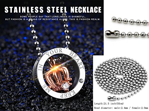 HQLA His or Hers Matching Set 2PC Titanium Stainless Steel Black/Rose Gold Plated Crown w/Cz Crystal in Silver Circle Couple Pendant Necklace Set for Lover Valentine By, (Keep Me in Your Heart) by HQLA (Image #2)