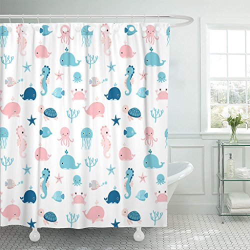 Emvency Shower Curtain Kids Cute Summer Sea Animals in Blue and Pink Waterproof Polyester Fabric 72 x 72 Inches Set with Hooks