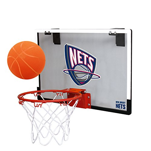NBA New Jersey Nets Game On Indoor Basketball Hoop & Ball Set, Large, Black