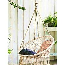 E EVERKING Hammock Chair Macrame Swing, Hanging Cotton Rope Macrame Hammock Swing Chair for Indoor, Outdoor Home, Patio, Porch, Deck, Yard, Garden, Max Weight: 260 Pounds (Beige)