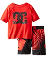 DC Shoes Co Little Boys' Crew-Neck Rashguard and Printed Boardshort Two-Piece Set