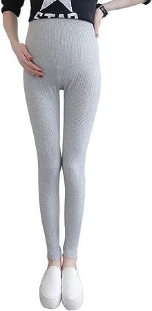 Leggings De Cintura Alta Y Baja Para Mujeres Embarazadas Ropa De Algodón Hilo Elástico La Raya Vertical Era Delgada Pies Pantalones Changchun Otoño,Beige-XL: Amazon.es: Hogar