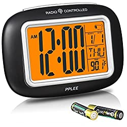 OnLyee Radio Controlled Atomic LCD Digital Alarm Clock With Calendar,Indoor Temperature,Date(Batteries Included)