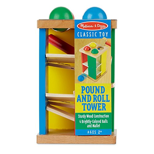 51rUM595QlL - Melissa & Doug Deluxe Pound and Roll Wooden Tower Toy With Hammer