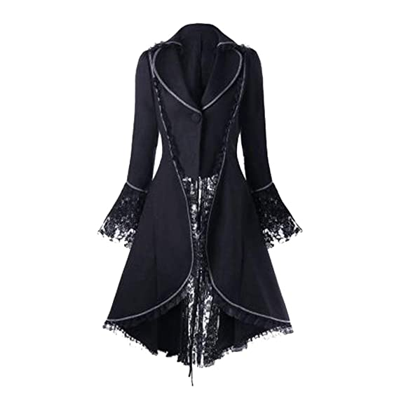 Hongxin Damen Steampunk Frack Jacke Retro Viktorianischen Gothic Coat Unregelmäßige Tailcoat Langer Mantel Halloween Cosplay Kostüm Bandage Nähte