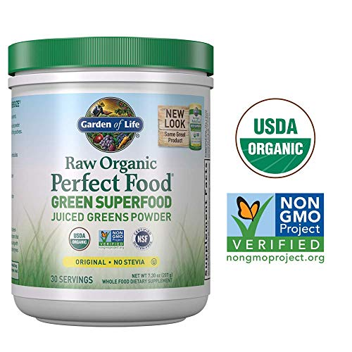 Garden of Life Raw Organic Perfect Food Green Superfood Juiced Greens Powder - Original Stevia-Free, 30 Servings (Packaging May Vary) - Non-GMO, Gluten Free Supplement - Alkalize, Detoxify, Energize ()