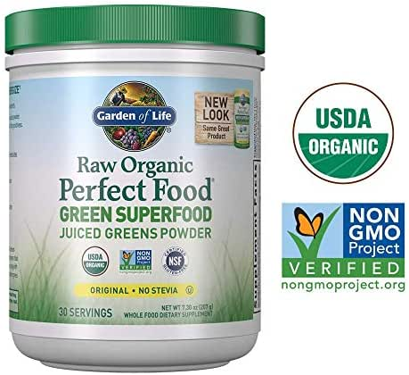 Garden of Life Raw Organic Perfect Food Green Superfood Juiced Greens Powder - Original Stevia-Free, 30 Servings (Packaging May Vary) - Non-GMO, Gluten Free Supplement - Alkalize, Detoxify, Energize