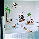 Yoovi Kids Room Decor Wall Decals Peel and Stick Removable Vinyl Wall Sticker Wall Decal Stickers for Bathroom, 23.6'' x 35.4'' (Pirate Ship)