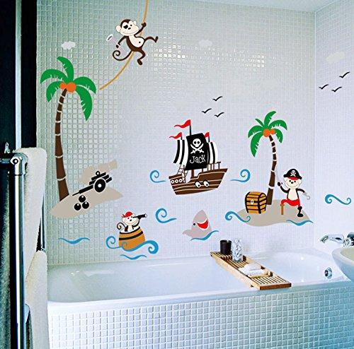 Sea Monkeys Pirate (Yoovi Kids Room Decor Wall Decals Peel and Stick Removable Vinyl Wall Sticker Wall Decal Stickers for Bathroom, 23.6'' x 35.4'' (Pirate)