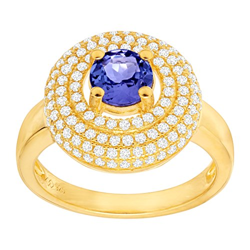 3/4 ct Natural Tanzanite Halo Ring with Cubic Zirconia in 18K Gold-Plated Sterling Silver Size 5 by Finecraft