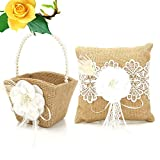 Qjoy 5 Pcs/ Set Wedding Guest Book + Pen + Ring Pillow +Flower Basket + Garter Sets for Wedding Decor Event Party Supplies (Type 6)