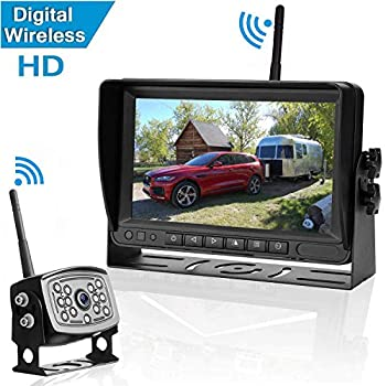 Image of Vehicle Backup Cameras Amtifo Digital Wireless Backup Camera and 7'' Monitor For RVs,Trucks,Trailers,High-Speed Observation System With Stable Signal ,Adjustable Rear/Front View Camera, Guide Lines ON/Off, IP69K Waterproof