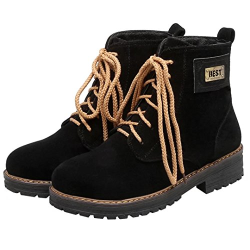 AIYOUMEI Damen Flach Stiefelettem mit Schnürsenkel Bequem Modern Lace Up Ankle Boots Schnürstiefeletten Schwarz