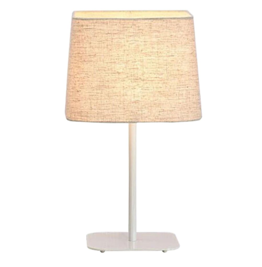 GL&G Modern creative art LED eye protection table lamp Iron adjustable desk bedroom button-style cloth lamp cover bedside lamp,White,Dimmer switch