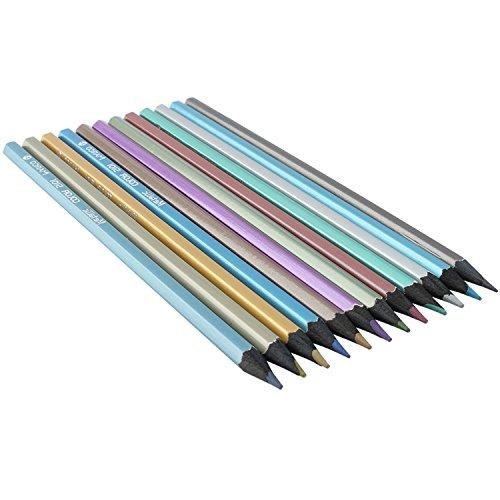 ZJchao Metallic Colored Pencils Non Toxic With Black Wood For Artist Sketch Secret Garden