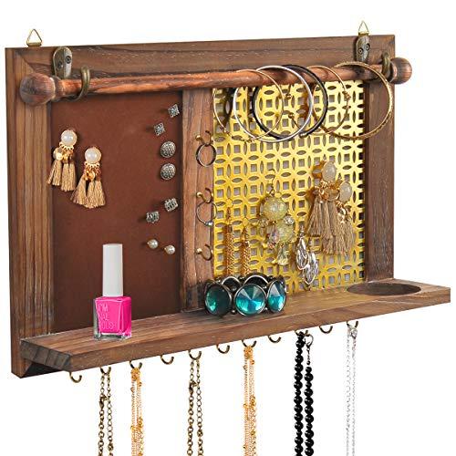 (ASHLEYRIVER Rustic Wall Mounted Jewelry Organizer Wood Bracelet Organizer/Necklace Holder/Earring Organizer)