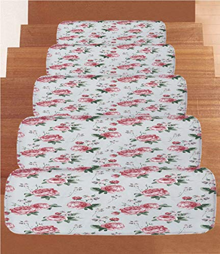 Nosing Trim - Coral Fleece Stair Treads,Rose,Blooming English Rose Watercolor Painting Style Garden Shabby Chic Wild Flowers,Reseda Green Pink,(Set of 5) 8.6