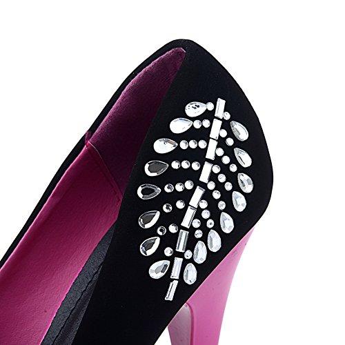 AalarDom Mujeres Sólido Gamuza(Imitado) Tacón de aguja Peep Sin cordones Sandalia Rosado