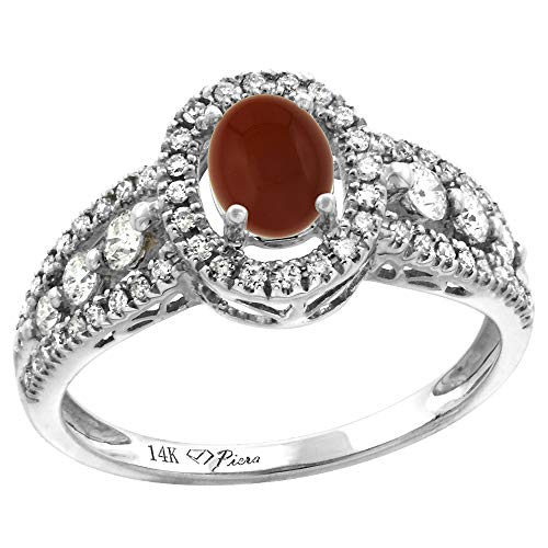 14k White Gold Diamond Genuine Brown Agate Halo Engagement Ring Oval 7x5mm, size 10