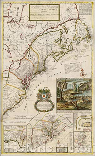 Historic Map - A New and Exact Map of The Dominions of The King of Great Britain on ye Continent of North America[The Beaver Map], 1731, Herman Moll - Vintage Wall Art 27in x 44in