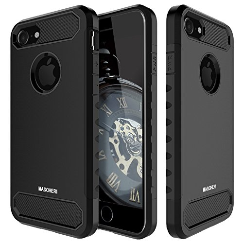 Price comparison product image iPhone 7 Case, Mascheri [Carbon Fiber Design] Shock Absorption Protective Dual Layer Military-Grade Defender Hybrid Case Cover for Apple iPhone 7 - Black