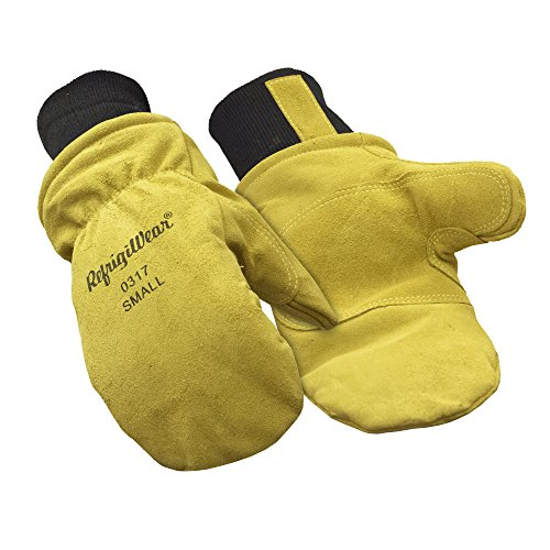 - RefrigiWear Fleece Lined Fiberfill Insulated Cowhide Leather Mitten Gloves (Gold, Large)