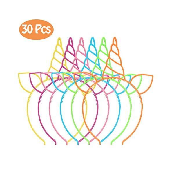 CXWILL Unicorn Headbands 30 Pcs Plastic Unicorn Hairbands for Girls Party Favors (6 Colors) 3