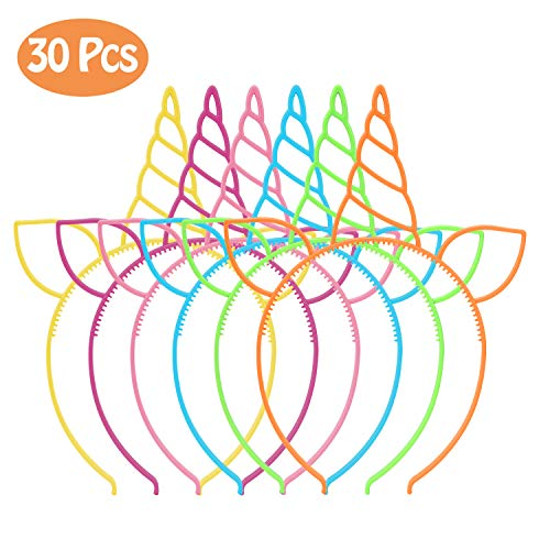 CXWILL Unicorn Headbands 30 Pcs Plastic Unicorn Hairbands