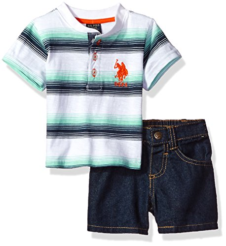 Embossed Pocket Jeans (U.S. Polo Assn. Baby Boys' Striped Henley with 5 Pocket Denim Short, White, 3/6M)