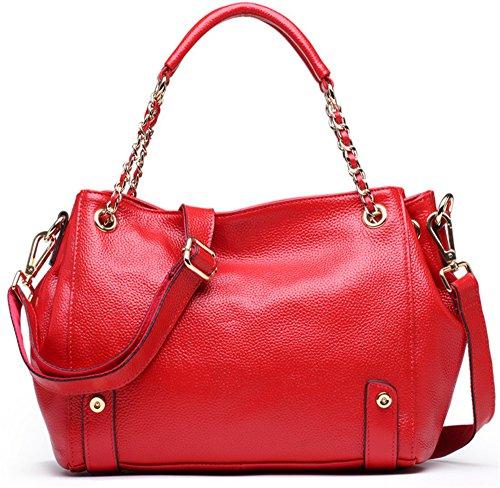 Xinmaoyuan Mujer bolsos de cuero Bolsos Casual hombro Paquete Diagonal,negro Rojo