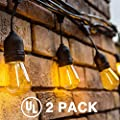 Delxo 48FT LED String Lights Weatherproof Shatterproof 15 E26 Sockets 18 x 1W S14 Bulbs (3 Spares) Edison LED String Lights Perfect for Patio Cafe Wedding Party Decoration UL Listed
