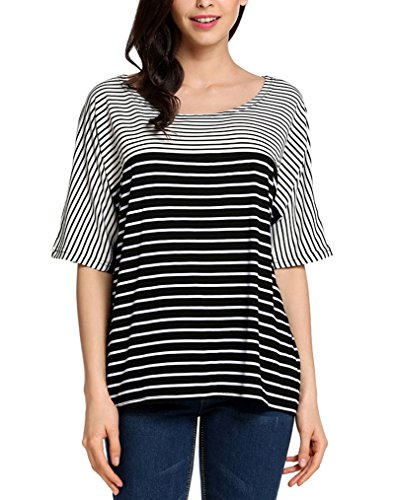 Women Stripes Short Sleeve Boat Neck Tops Casual T shirt (Silk Cotton Boat Neck)