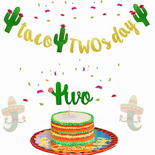 Set of 2 JeVenis Glittery Taco Twosday Banner 2nd Birthday Banner Fiesta Second Birthday Cake Topper Fiesta Second Birthday for Toddler Birthday Taco Party Banner Fiesta Birthday Decorations