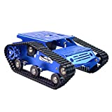 Smart Robot Car Tank Chassis Kit Aluminum Alloy Big Platform with 2WD Motors for Arduino/Raspberry Pi DIY Remote Control Robot Car Toys - Free Tools (Blue)