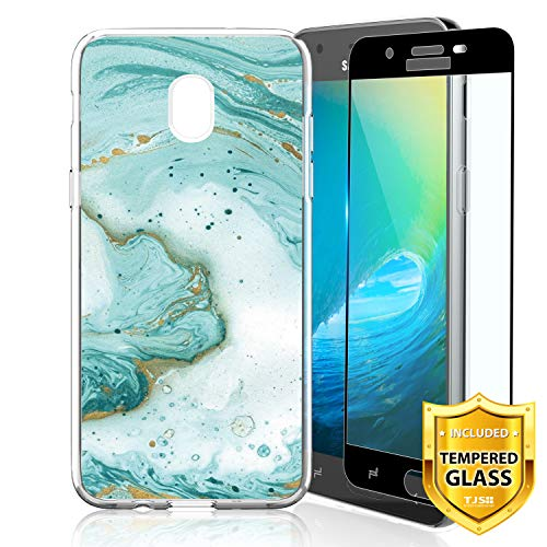 TJS Galaxy J7 2018/J7 Refine/J7 Star/J7 Eon/J7 TOP/J7 Aero/J7 Crown/J7 Aura/J7 V 2nd Gen Case, with [Full Coverage Tempered Glass Screen Protector] TPU Marble Transparent Clear Soft Skin Case (Green)
