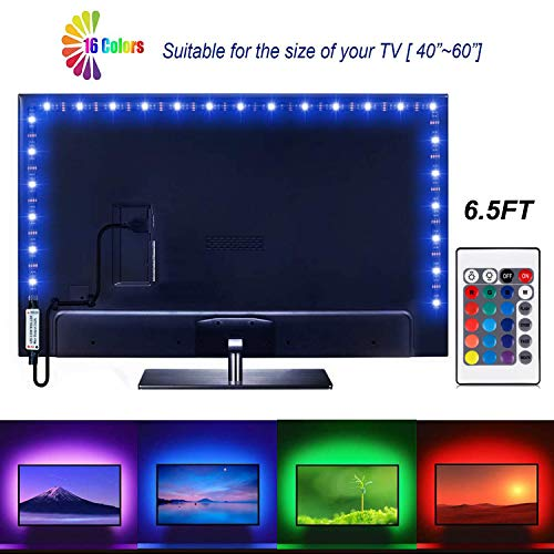 Led Strip Lights 6.56ft for 40-60in TV USB Backlight Kit with Remote, 16 Color 5050 Bias HDTV (24Key Remote)