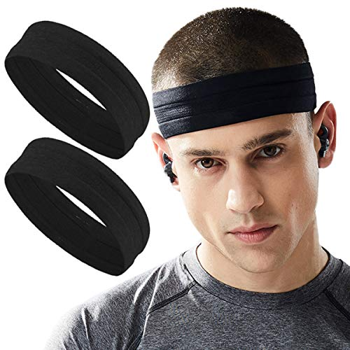 Black Workout Sweat for Men - Silicone Sports Sweatband Wicking Women Headband No Slip - Stretchy Soft Yoga Hair Head Band Set - Fitness Exercise Tennis Running Gym Working Out Dri Fit (Best Workout Headbands That Stay In Place)
