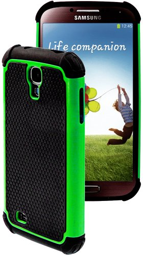 """myLife Bright Green and Black - Rugged Design (2 Piece Hybrid Bumper) Hard and Soft Case for the Samsung Galaxy S4 """"Fits Models: I9500, I9505, SPH-L720, Galaxy S IV, SGH-I337, SCH-I545, SGH-M919, SCH-R970 and Galaxy S4 LTE-A Touch Phone"""" (Fitted Back Solid Cover Case + Internal Silicone Gel Rubberized Tough Armor Skin)"""