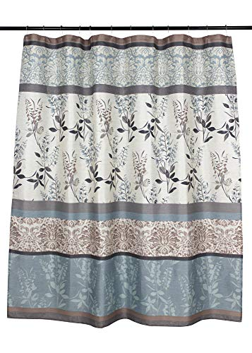 Serafina Home Light Blue Beige Grey Fabric Shower Curtain for Bathroom: Contemporary Floral Bordered Damask Design - Elegant floral and stripe motif, this Ashly shower curtain provides a stylish addition to your bathroom. The botanical pattern with flowers, leaves and branches creates a light and refreshing welcome to any space. Easy hanging with 12 stitched buttonhole openings Material: 100% Polyester cloth; Canvas textured style fabric with a soft textured feeling creates a light and airy feeling. - shower-curtains, bathroom-linens, bathroom - 51rUPWs0W9L -