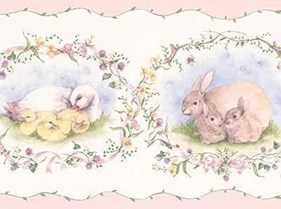 Retro Rabbit Duck Sheep White Animal Wallpaper Border Vintage Design, Roll 15' x 7''