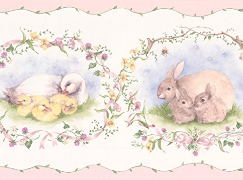 (Retro Rabbit Duck Sheep White Animal Wallpaper Border Vintage Design, Roll 15' x 7'')
