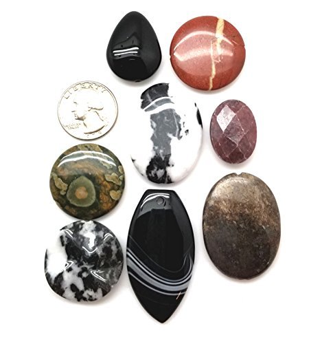 LOT of 8 Focal Pendant Beads for Jewelry Making, Black Onyx, Red Jasper, Rhyolite, Zebra Jasper and (Rhyolite Jasper Pendant)