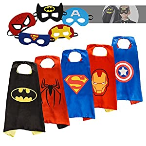 Superhero Capes for kids with Felt Masks-5 Sets-Superhero Costumes, Best Halloween Birthday Costume for Kids Toddler Teen