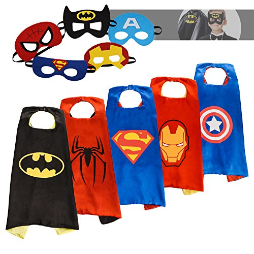[Superhero Capes for kids with Felt Masks-5 Sets-Superhero Costumes, Best Halloween Birthday Costume for Kids Toddler Teen] (Spiderman Mask For Toddlers)