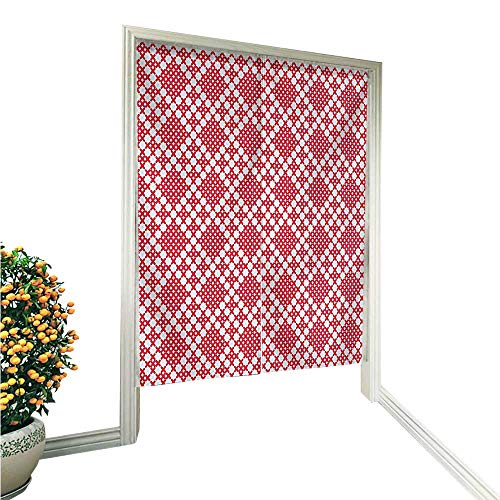 "QianHe Noren Doorway CurtainRussian Slavic Cross Stitch Pattern Embroidery Ornate Needlework Design Red White Hand or Machine wash in Cold Water 33.5"" Wx66.9 L"