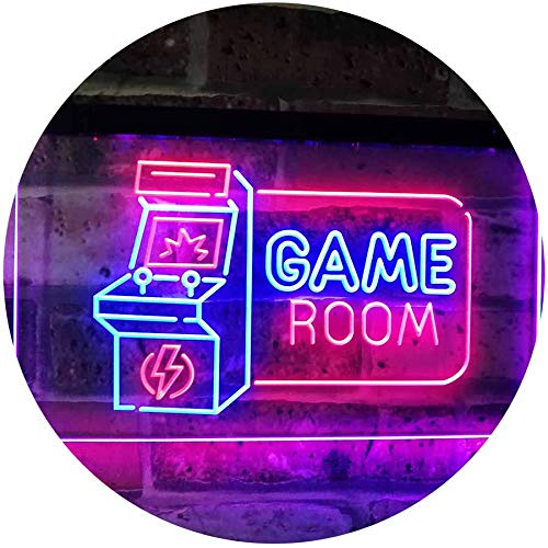 Game Room Arcade TV Man Cave Bar Club Dual Color LED Neon Sign Blue & Red 16″ x 12″ st6s43-j2850-br