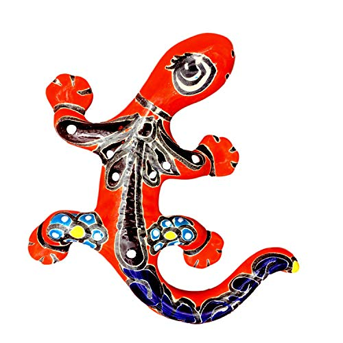 (Casa Fiesta Designs Colorful Garden Decor Lizard - Ceramic Mexican Home Decor Talavera Gecko - Hand Painted in Mexico - Mexican Wall Decor - Multicolor Lizard - Lagartija Multicolor)