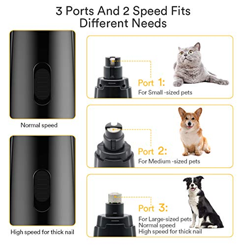 maikou Dog Nail Grinder Upgraded - Professional 2-Speed Electric Rechargeable Pet Nail Trimmer Painless Paws Grooming & Smoothing for Small Medium Large Dogs & Cats