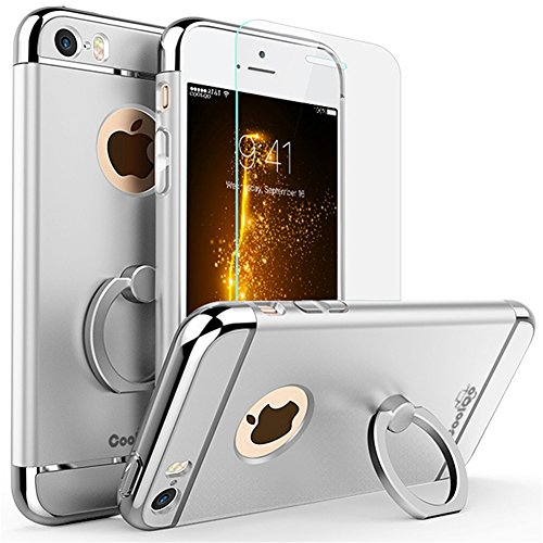 iPhone 5 Case, iPhone 5S Case, iPhone SE Case, COOLQO Ultra-thin 3in1 Plastic Hard Cover Skin 360 Degree Rotating Ring Kickstand & [Tempered Glass Screen Protector] for Apple iPhone 5 (Silver)