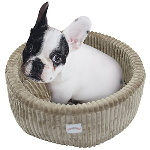UHeng 1 Piece Round Solid Quilted Luxury Small Pet Dog Cat Bed (Coffee) For Sale